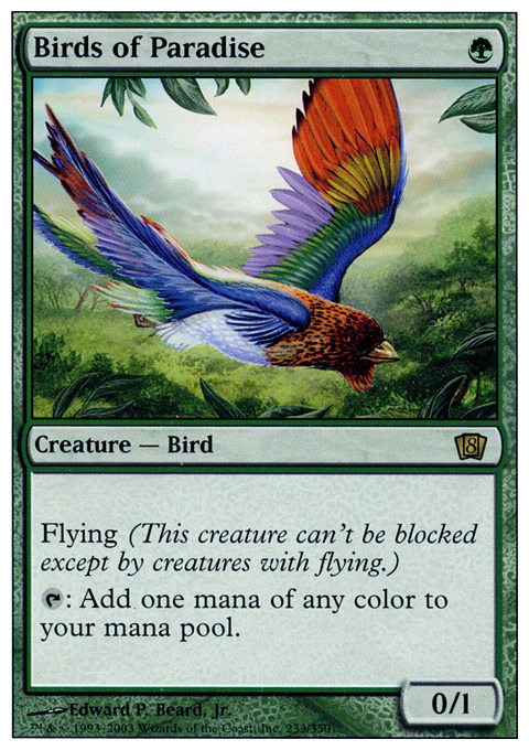 Magic the Gathering Birds of Paradise Rare, Revised Edition, Light Play