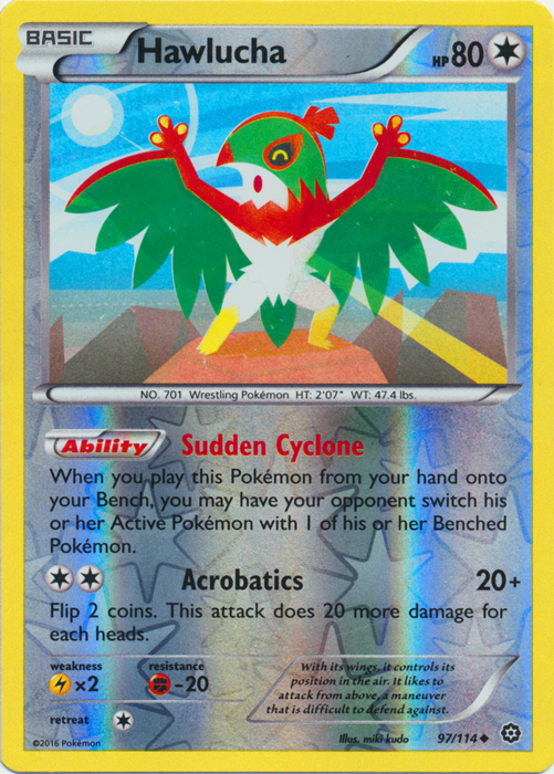 Reverse Holo Pokemon XY Steam Siege M//NM Engli 97//114 x4 Hawlucha Uncommon