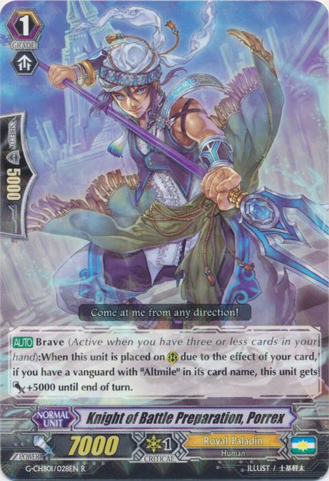R CFV M/NM x4 Knight of Battle Preparation Porrex G-CHB01/028EN