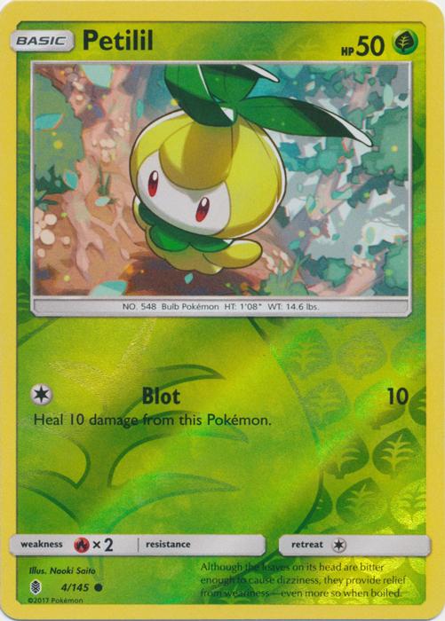 Reverse Holo Pokemon SM2 Guardians Rising M//NM E x4 Petilil 4//145 Common