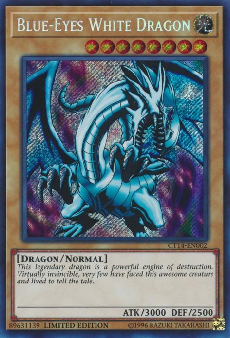 Yugioh-1x-Near Mint-Blue-Eyes White Dragon Secret Rare CT14-EN002 Limited