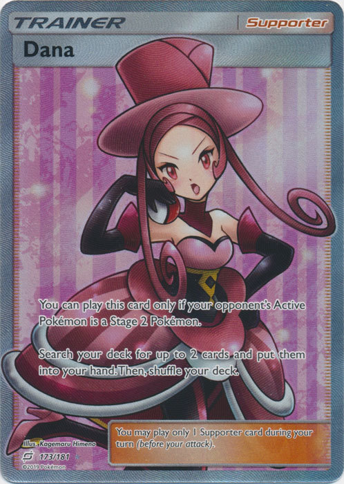 Dana 173//181 Full Art Supporter Trainer Card Pokemon Sun /& Moon Team Up