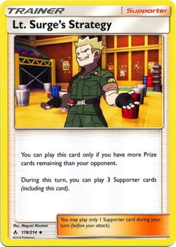 Reverse Holo Pokemon SM10 Unbroke 178//214 Surge/'s Strategy Uncommon x1 Lt