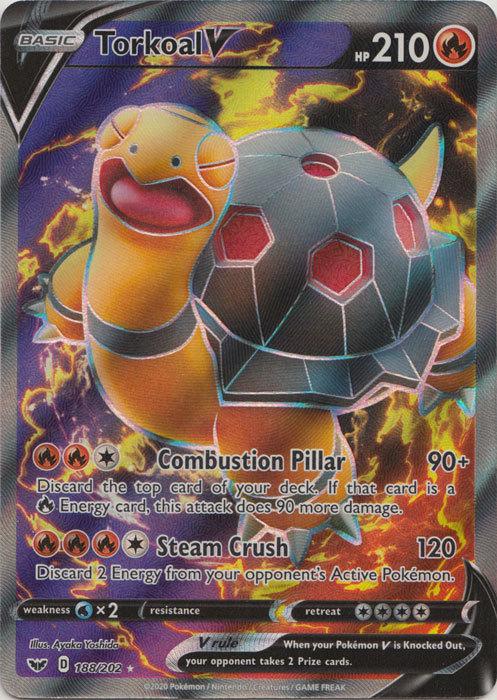 Torkoal V Full Art Ultra Rare NM Sword /& Shield 188//202 Pokemon TCG