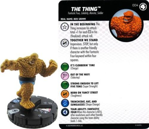 The Thing #004 Common M//NM with Card Marvel Fantastic Four HeroClix